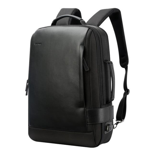 Black Leather Anti-Theft Waterproof Laptop Backpack