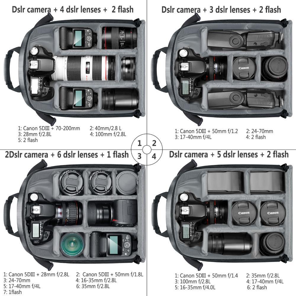 Multi-functional Camera Bag Waterproof Shockproof Partition Protection Backpack for SLR//DSLR//Mirrorless Camera Lens Battery