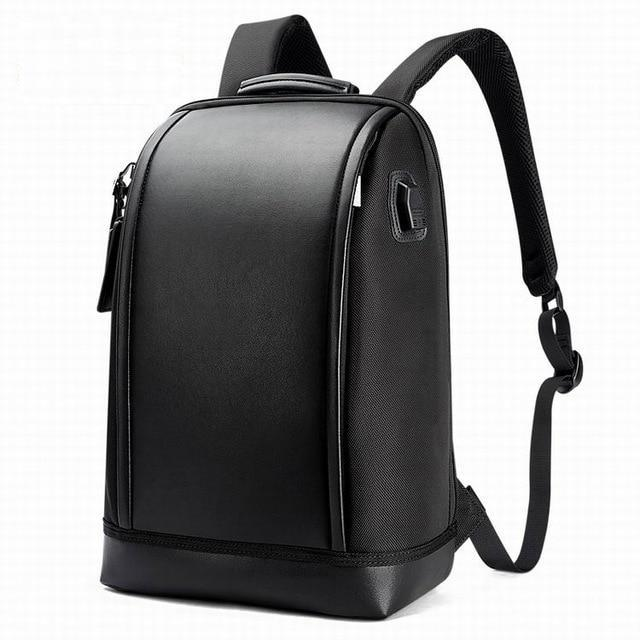 Black Leather Shell Shape Laptop Backpack