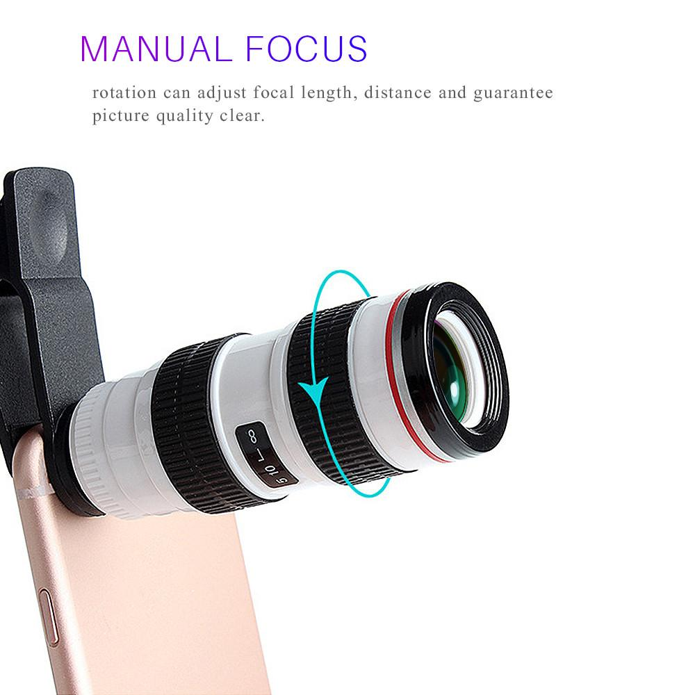 Mobile Phone 8X Optical Zoom Telescope Camera Lens Clip