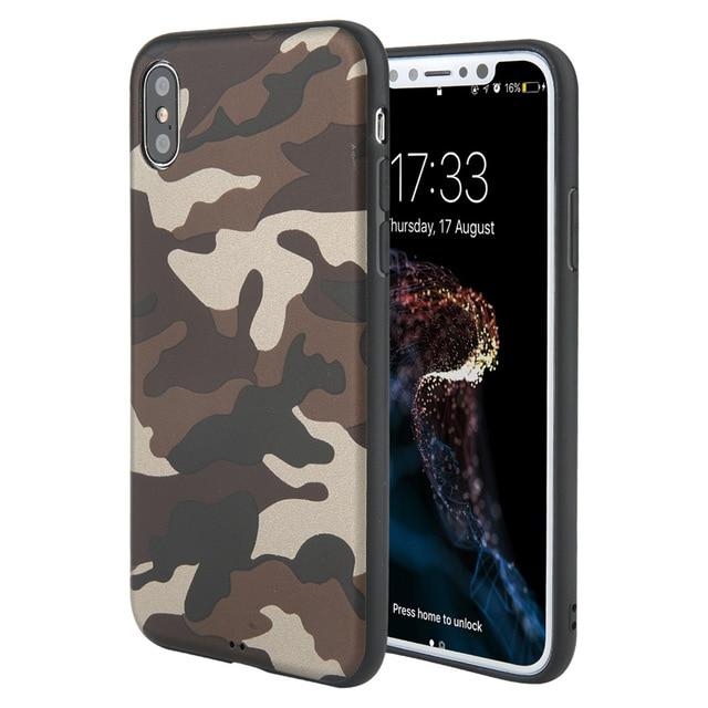 Army Green Camouflage Soft TPU Silicon Case For iPhone