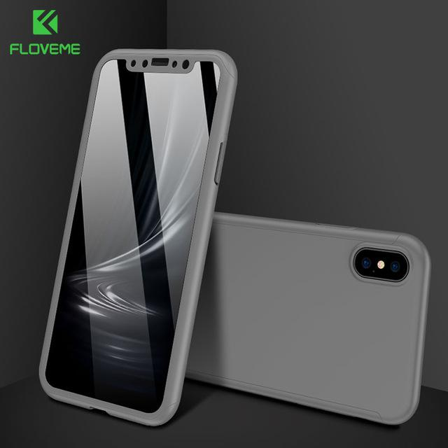Full Body 360 Degree Tempered Glass Hard PC Cover Phone Case For iPhones
