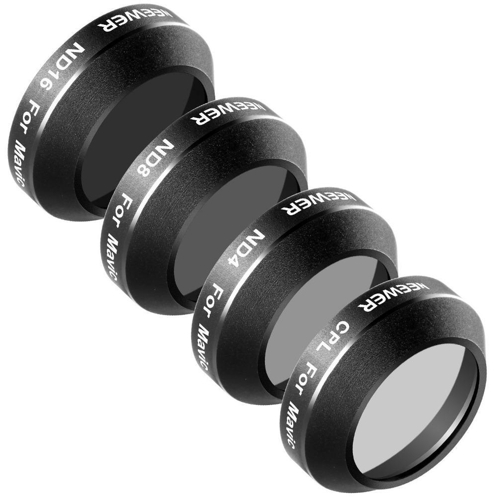 Black Multi Coated Waterproof Mixed Filter Kit for DJI Mavic Pro (4 Pieces)