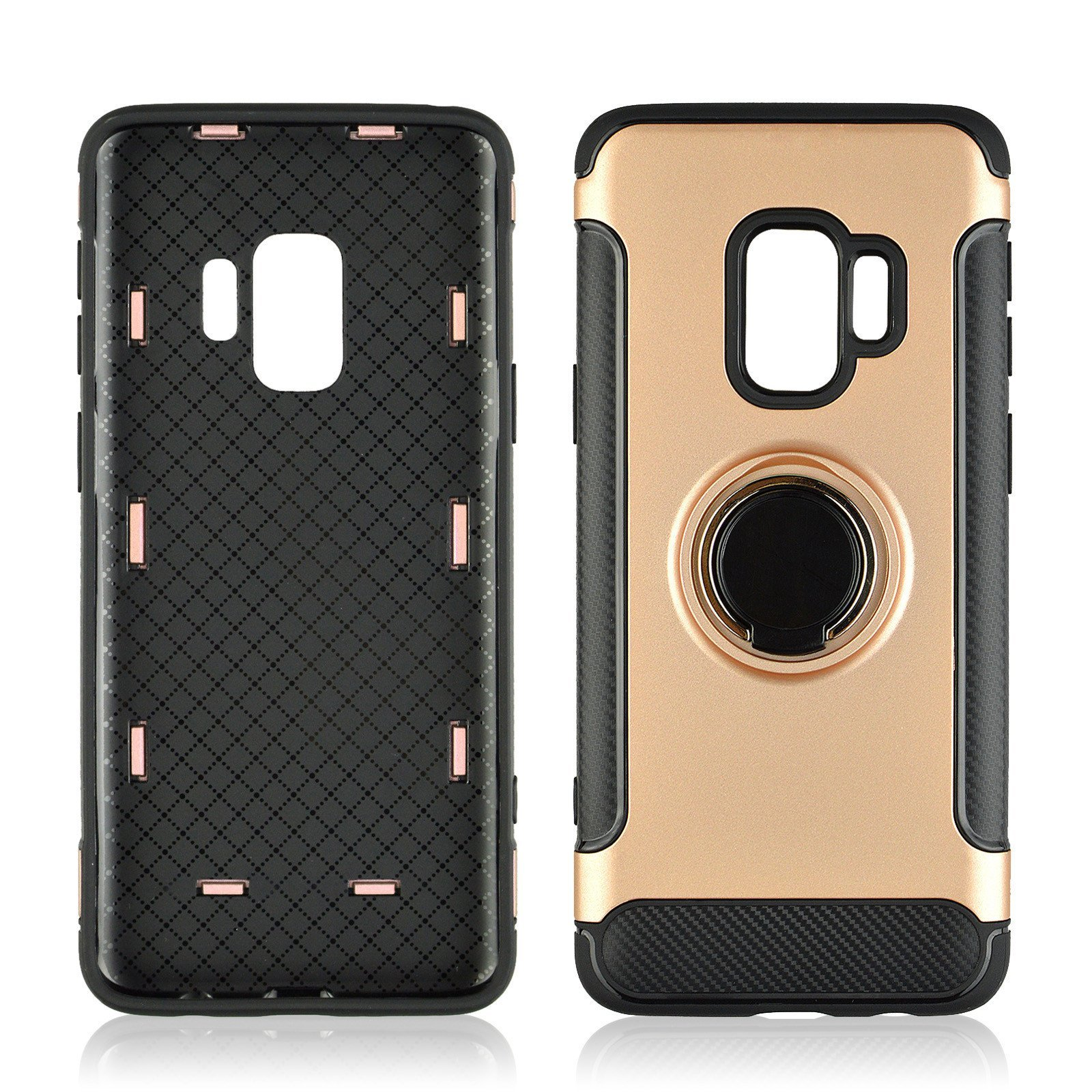 Hard PC Phone Cover 360 Rotate Ring Holder Phone Back Case Shockproof for Samsung Galaxy S9 Phones