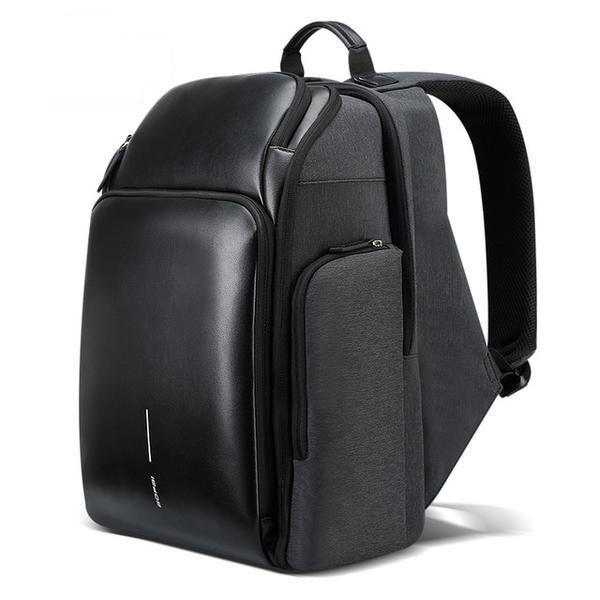 Black Leather Large Capacity Multi-Layers Travel Backpack